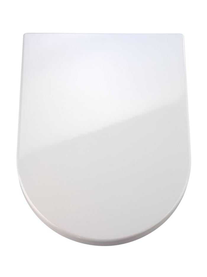 Wenko Premium WC-Sitz Palma, aus antibakteriellem Duroplast mit Absenkautomatik, Weiß, Befestigung: Silber matt