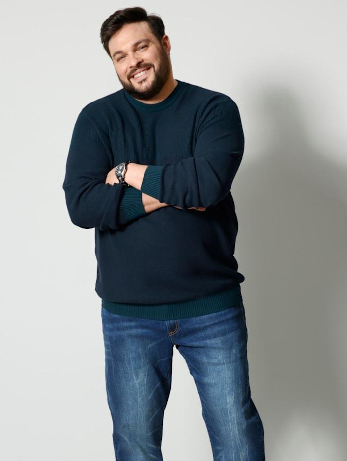 Men Plus Pullover Spezialschnitt, Marineblau
