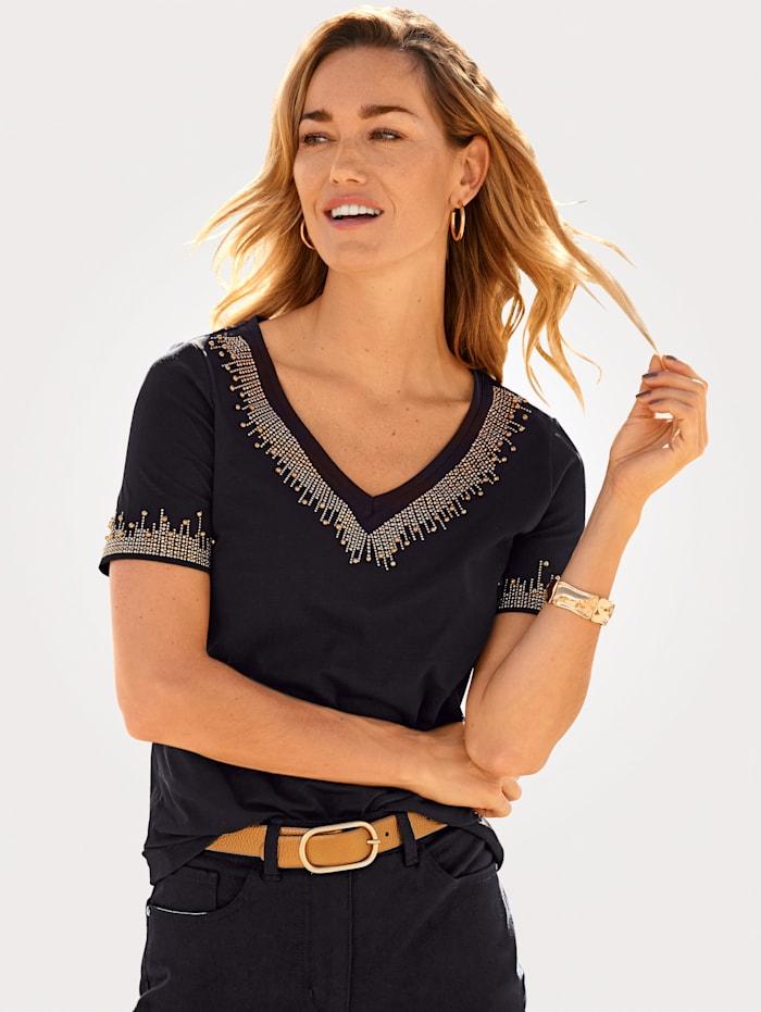 MONA Shirt mit effektvoller Zierdekoration, Schwarz/Goldfarben