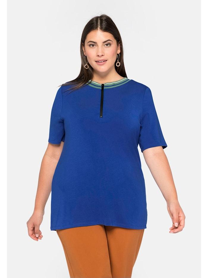 Sheego Sheego Shirt mit Rippbund und Zipper, royalblau