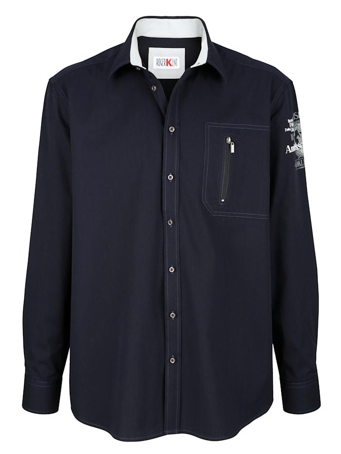 Roger Kent Bomullsskjorta med dragkedjeficka på bröstet, Marinblå