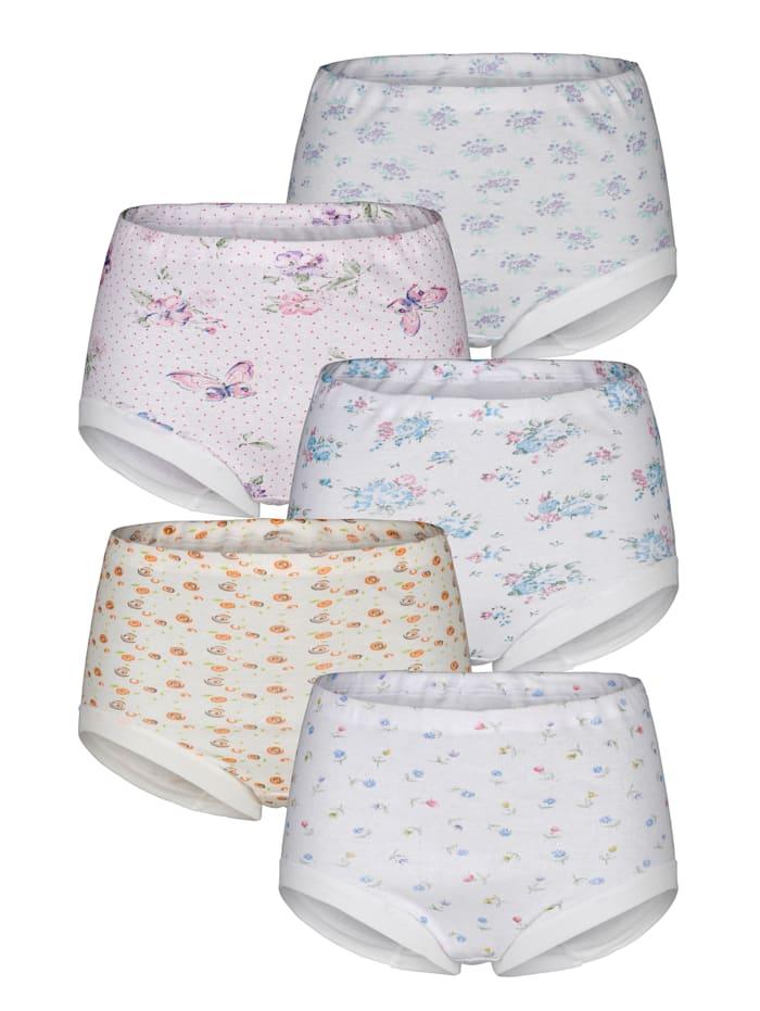 Harmony Taillenslip in 5 verschiedenen Drucken 5er Pack, 5x weiß/rosa/hellblau/grün/orange