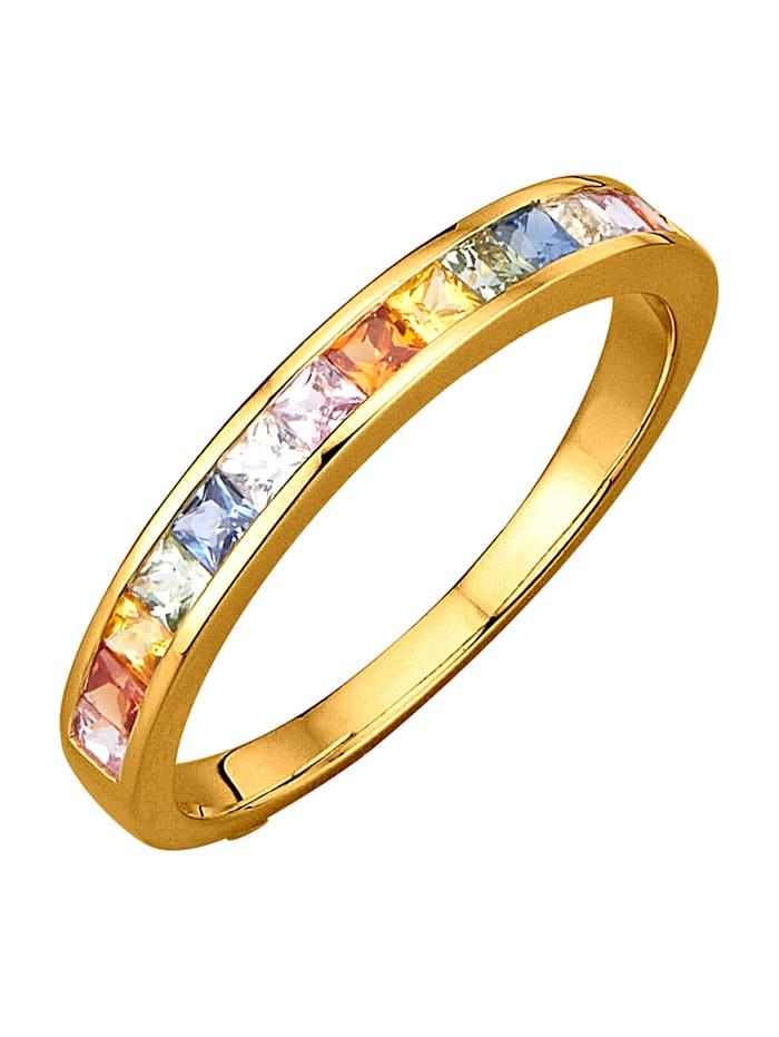 Diemer Farbstein Damenring mit multifarbenen Saphiren, Multicolor