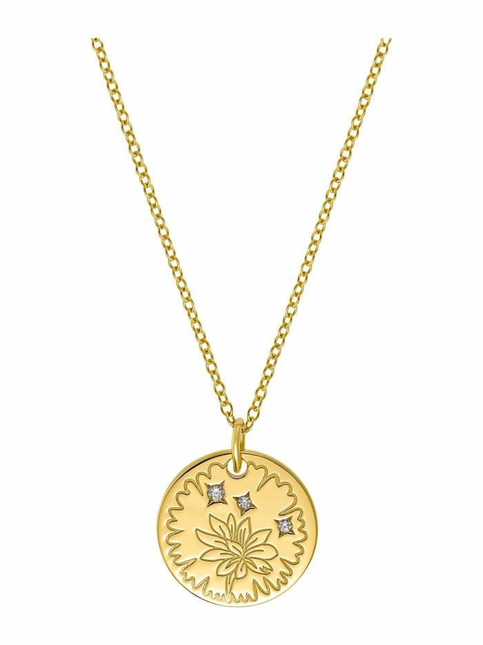 amor Kette mit Anhänger für Damen, Sterling Silber 925 vergoldet, Gold