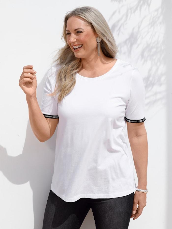 MIAMODA Shirt mit Verzierung am Halbarm, Weiß