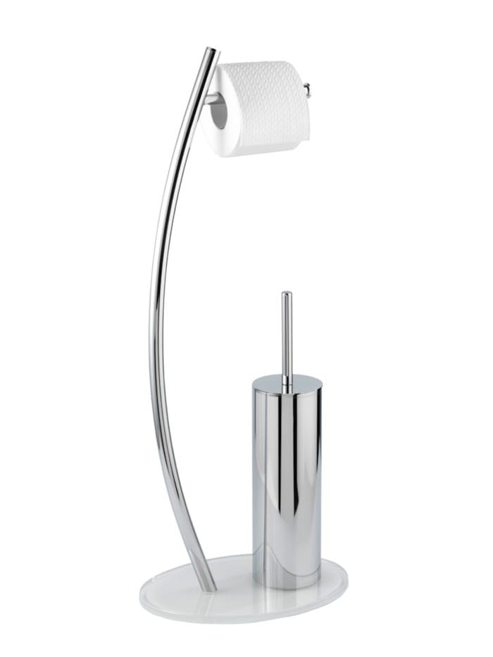 Wenko Stand WC-Garnitur Ascea, Gestell/WC-Behälter: Chrom, Bodenplatte: Weiß