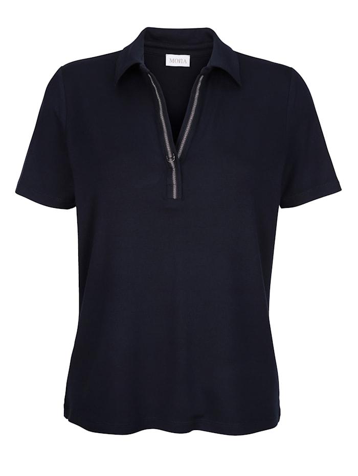Poloshirt mit Glanzband am Ausschnitt