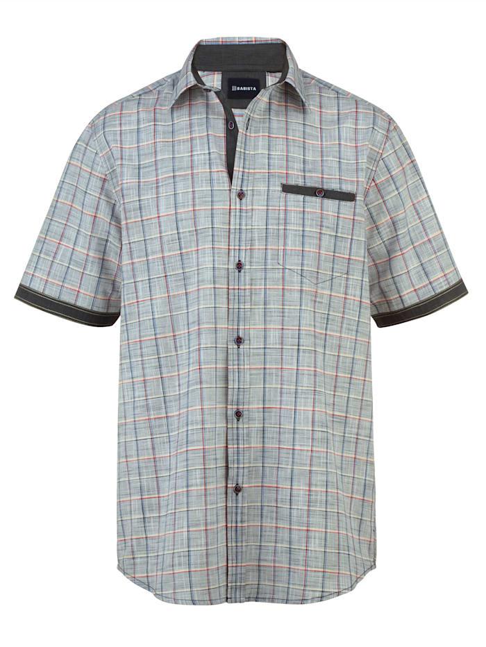 BABISTA Overhemd in zomerse linnenlook, Marine/Rood
