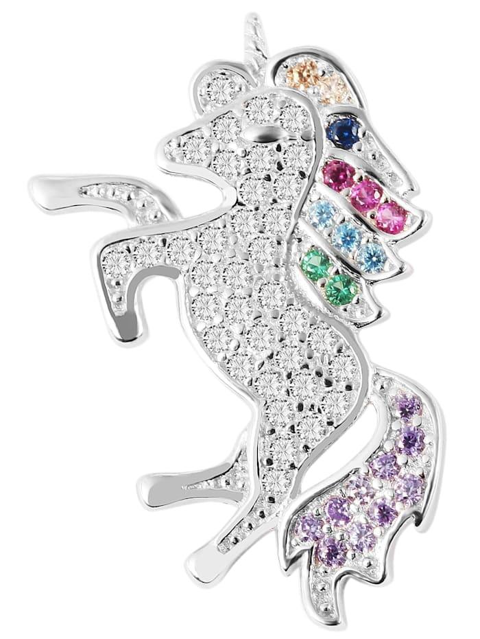 1001 Diamonds Kinder Anhänger Einhorn aus 925 Silber mit Zirkonia, silber