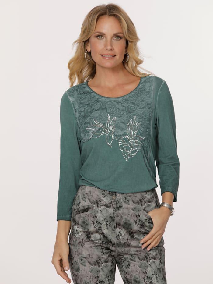MONA Shirt mit modischer Waschung, Dunkelgrün