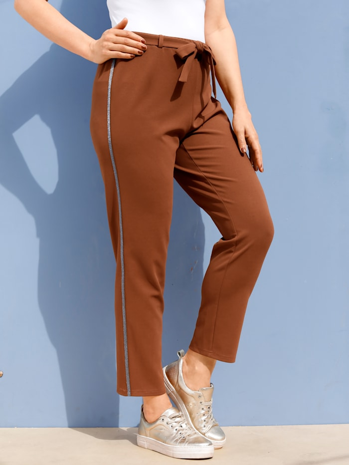 MIAMODA Pantalon avec bande fantaisie pailletée, Cognac
