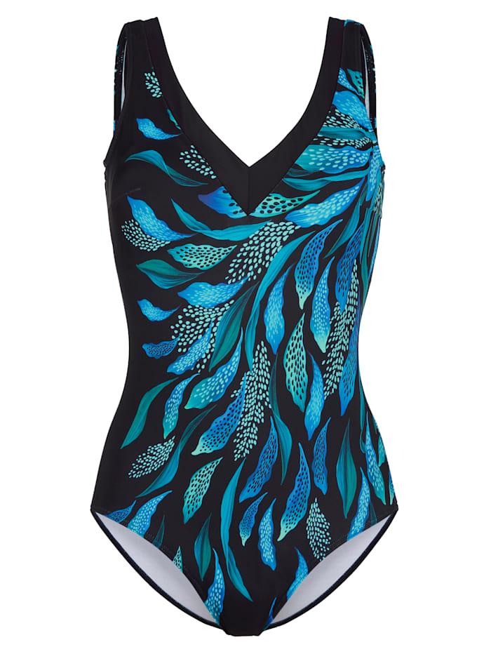 Sunmarin Badeanzug mit formender Halb-Corsage, Schwarz/Royalblau/Grün