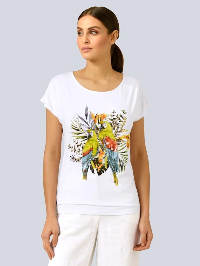 Alba Moda Shirt mit Dschungel-Motiv Print, Weiß/Gelb/Orange/Grün/Blau/Rot