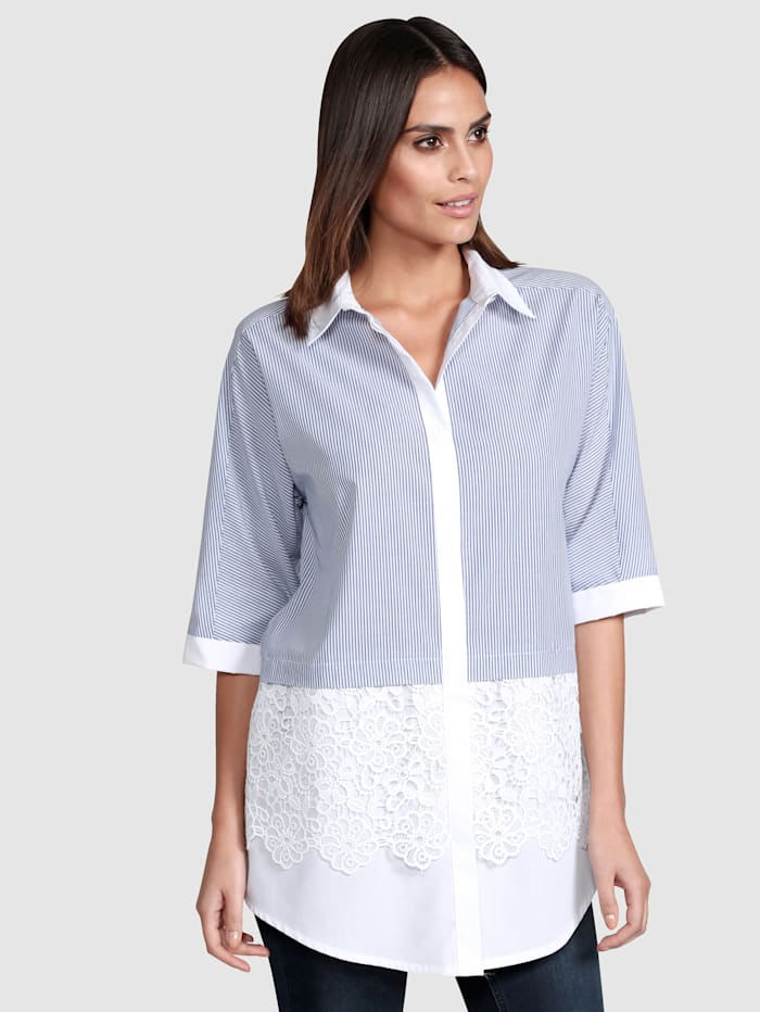 Alba Moda Bluse in Patch-Optik, Marineblau/Weiß