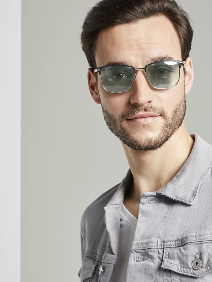 Tom Tailor Rechteckige Sonnenbrille mit Metallriemen, black-silver