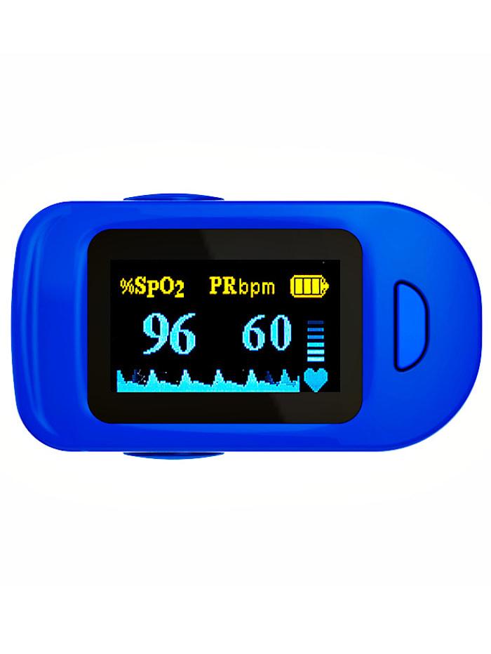 UBTC Pulsoximeter voor het meten van hartslag en zuurstofgehalte, blauw