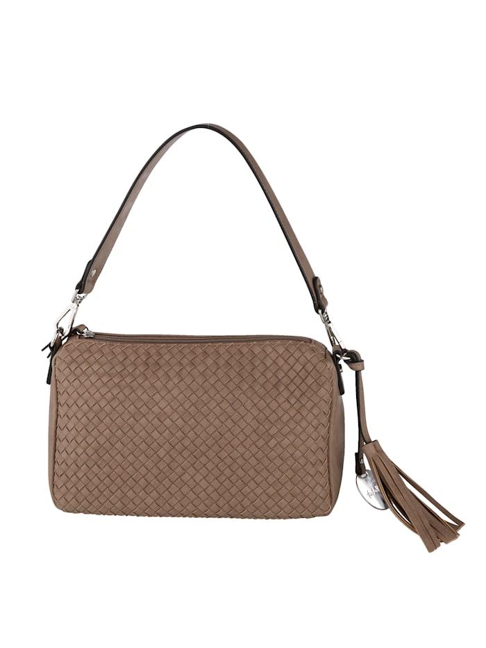 Taschenherz Shoulder bag in a braided finish, Taupe