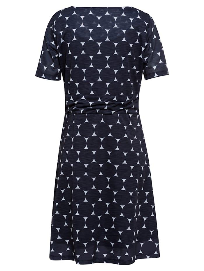 Jerseykleid, XL-Dots, marine/weiß