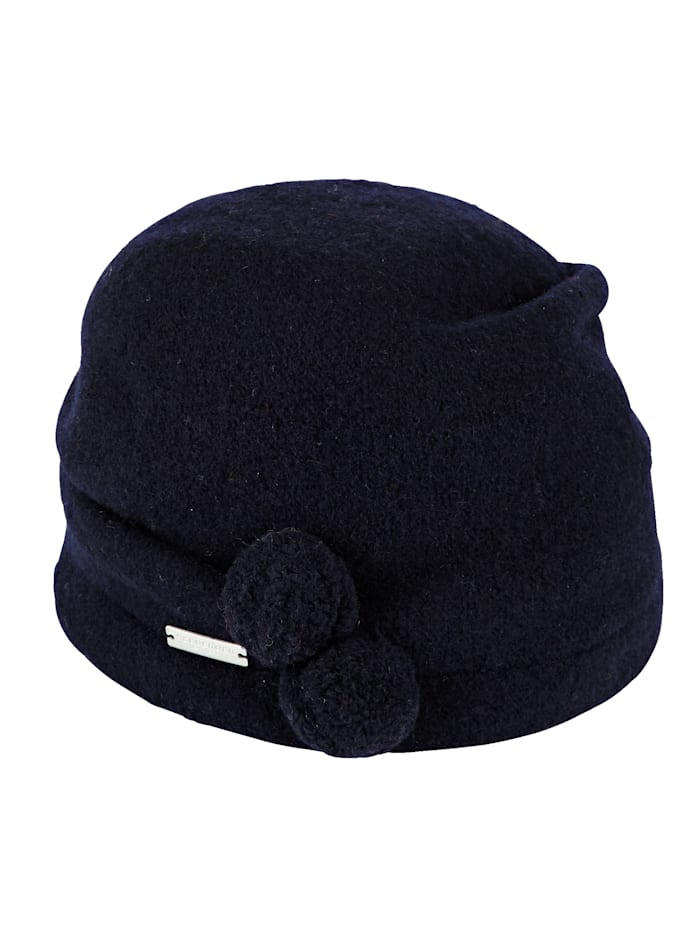Milled wool hat with decorative pom-poms