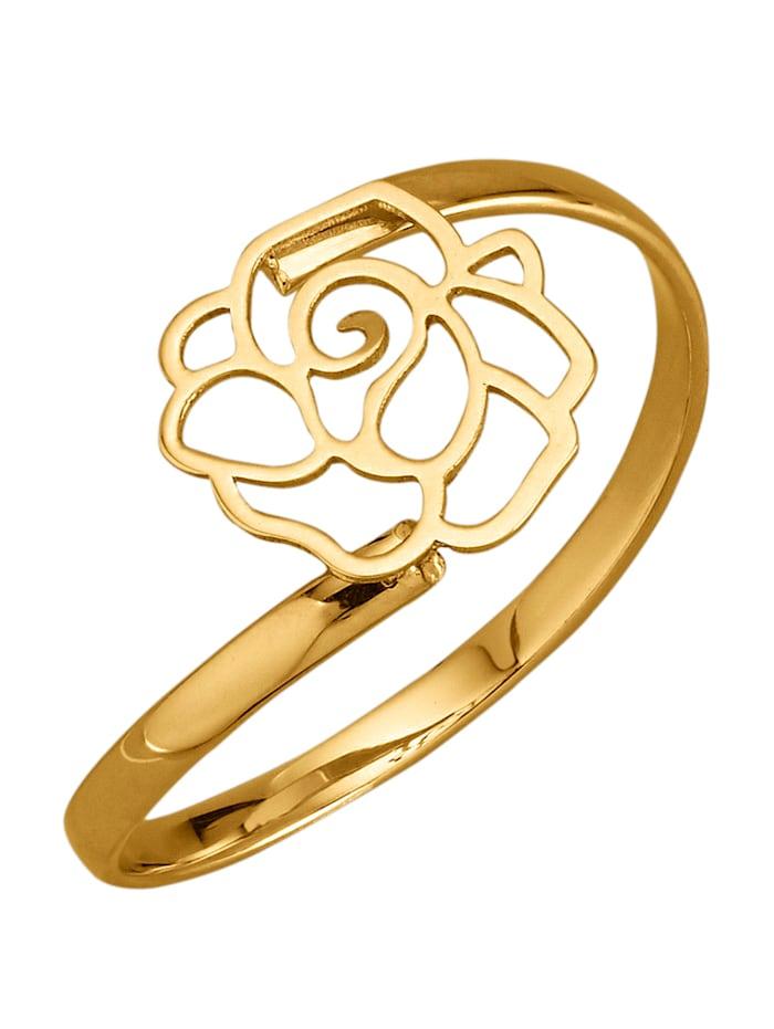 Rosen-Ring in Gelbgold 375, Gelbgoldfarben