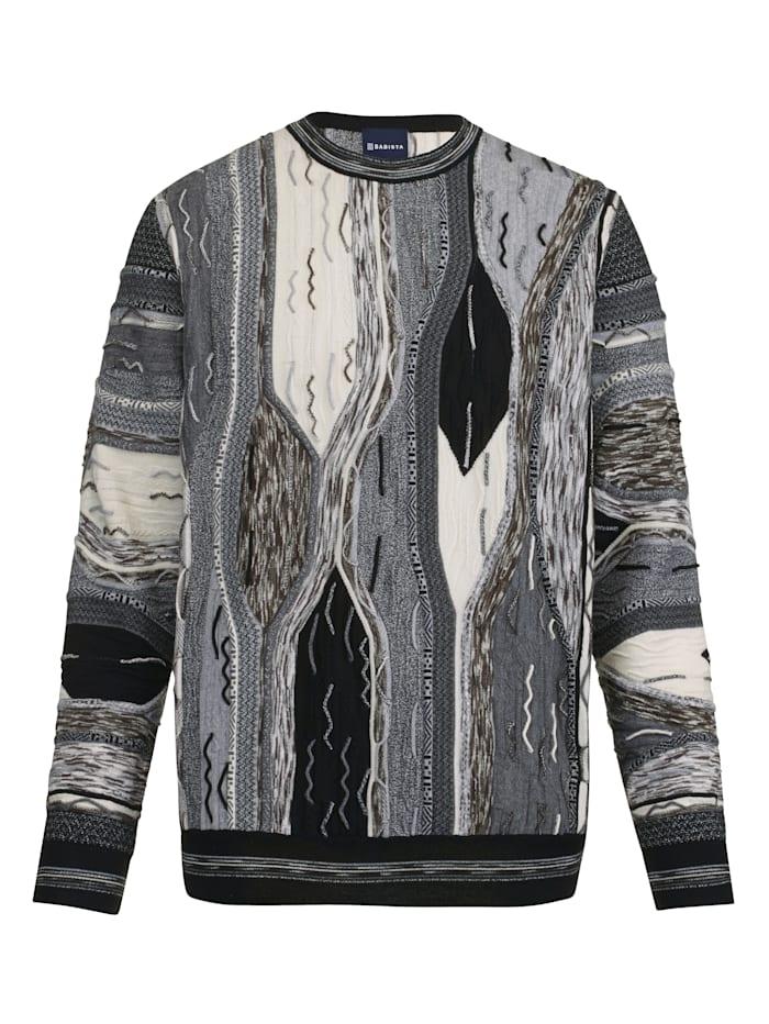 BABISTA Pullover mit aufwändiger 3D-Struktur, Schwarz/Weiß