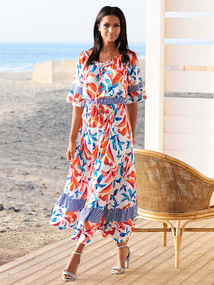 Alba Moda Strandkleid mit Zierquasten, Weiß-Bunt