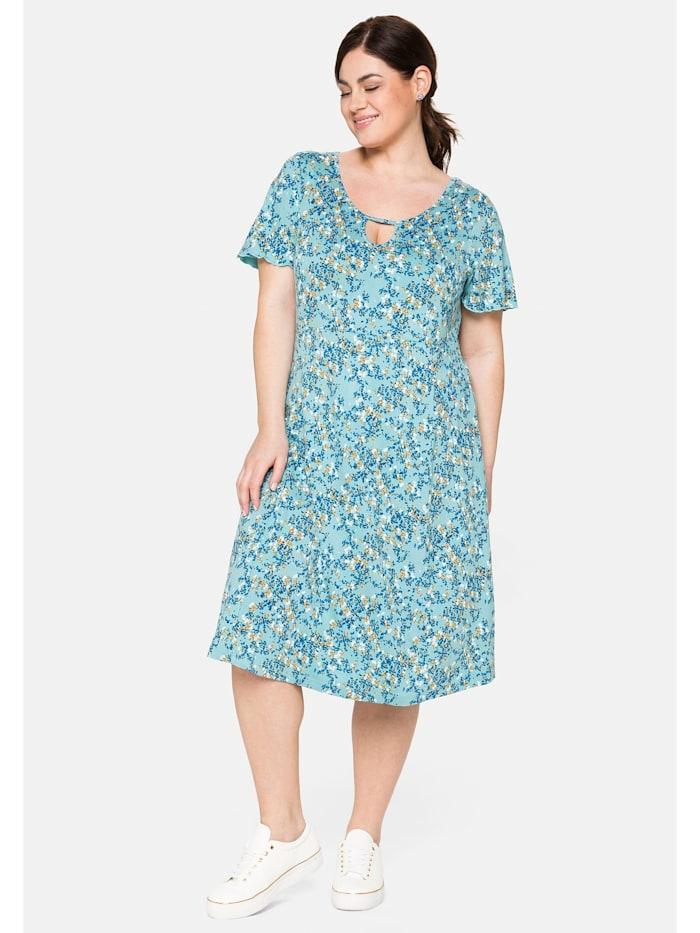 Sheego Jerseykleid mit Cut-out am Ausschnitt und Alloverdruck, helltürkis