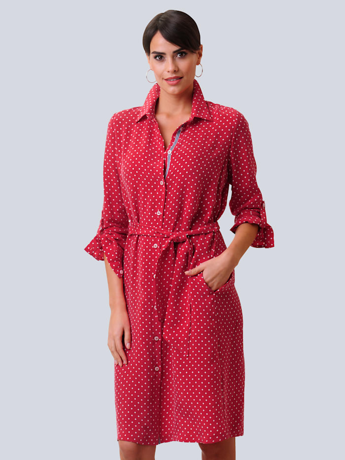 Alba Moda Kleid allover im Punkte-Dessin, Rot/Off-white
