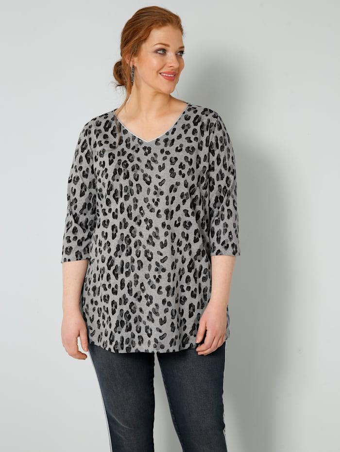 Sara Lindholm Shirt mit Gitzerkante am Ausschnitt, Grau