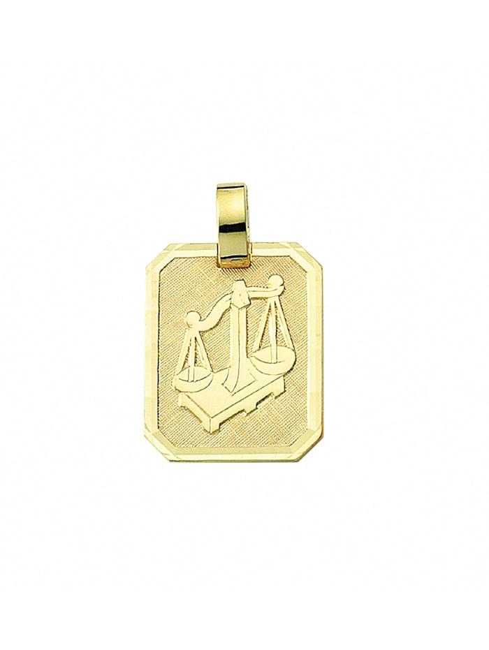 1001 Diamonds Damen & Herren Goldschmuck 333 Gold Sternzeichen Anhänger Waage, gold