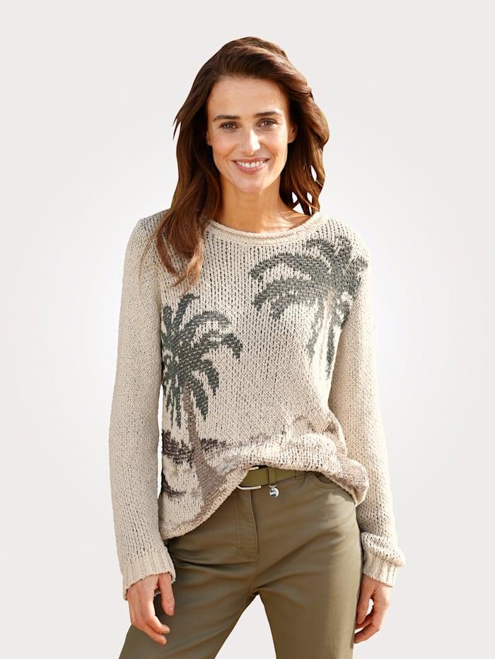 MONA Pullover mit sommerlichem Motiv, Sand/Oliv/Braun