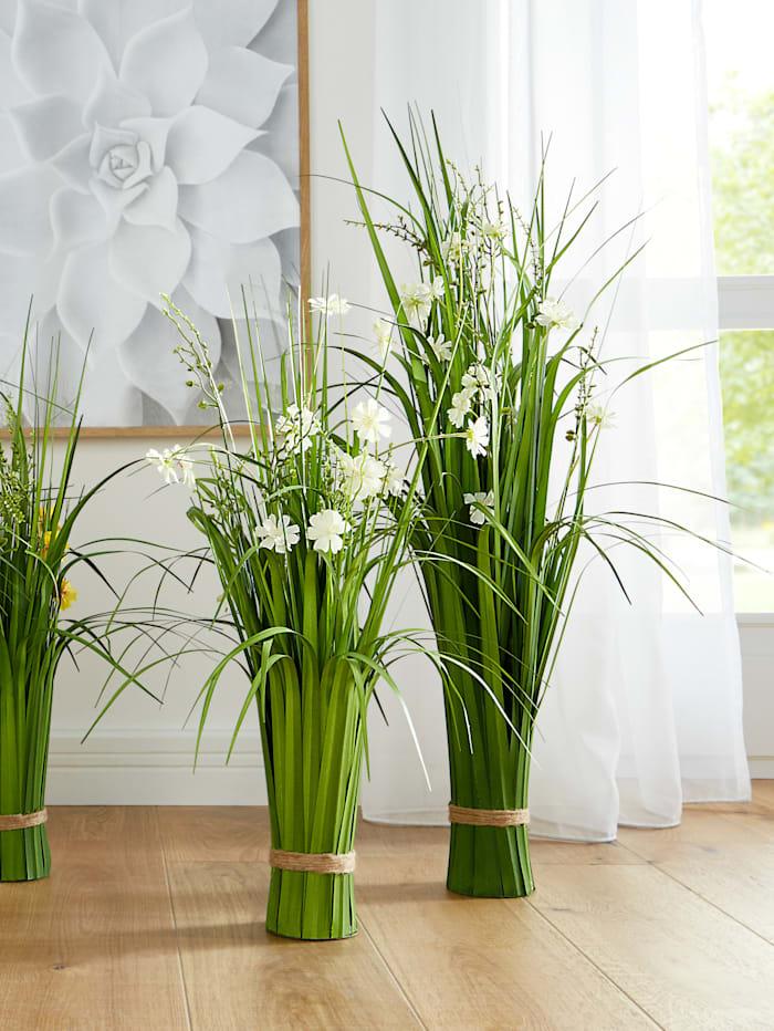 Globen Lighting Konstväxt, gräs med blommor, Vit