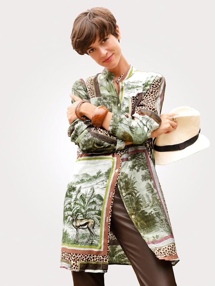 MONA Lange blouse met exclusief dessin, Olijf/Roest/Bruin