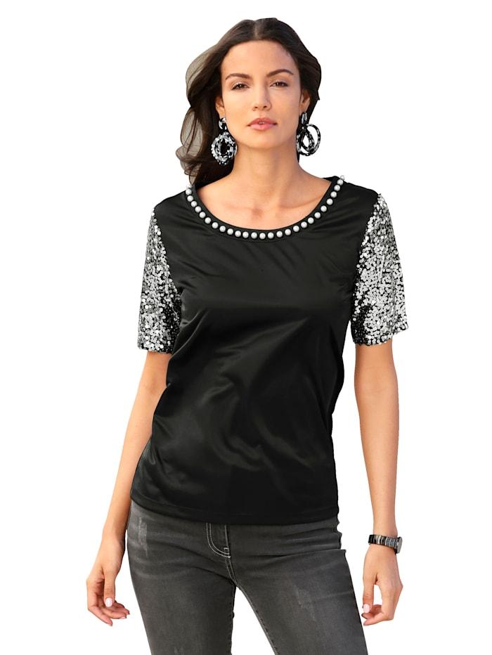 AMY VERMONT T-shirt à manches pailletées, Noir
