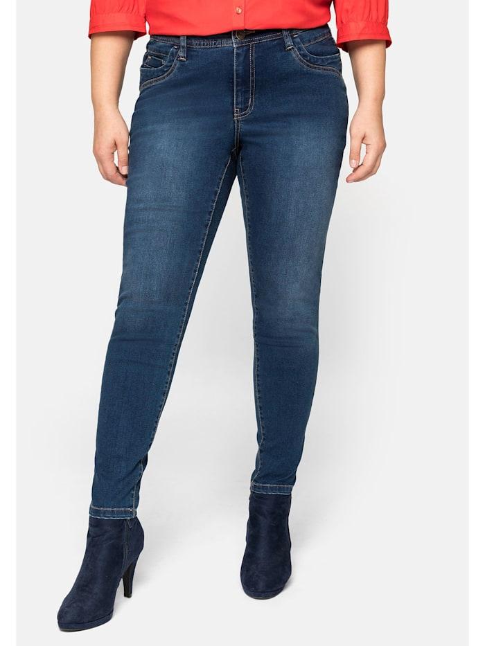 Sheego Jeans hinten mit höher geschnittenem Bund, dark blue Denim