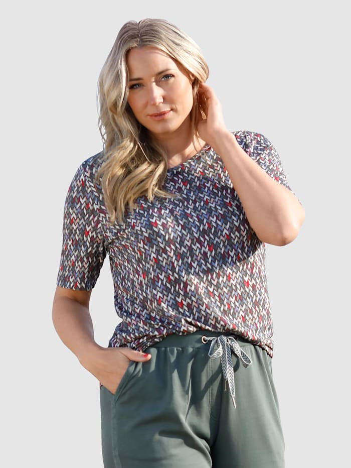 MIAMODA Shirt mit buntem Alloverdruck, Multicolor