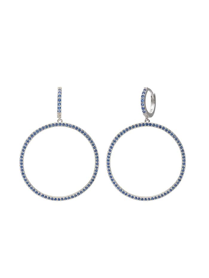 Giorgio Martello Creolen Kreis mit Zirkonia oder Kristallsteinen, Blau
