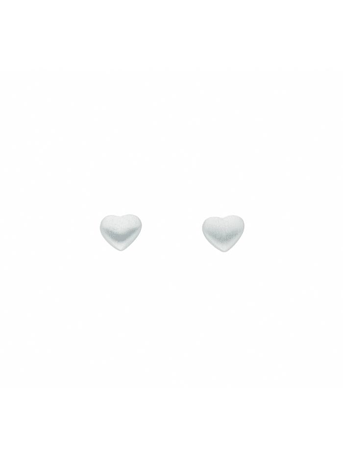 1001 Diamonds Damen Silberschmuck 925 Silber Ohrringe / Ohrstecker Herz, silber