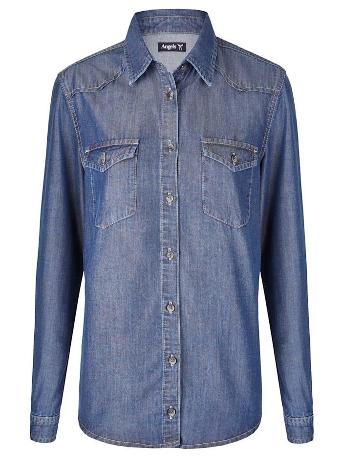 Angels Hemd 'Casual Shirt' in Jeansoptik, mid blue