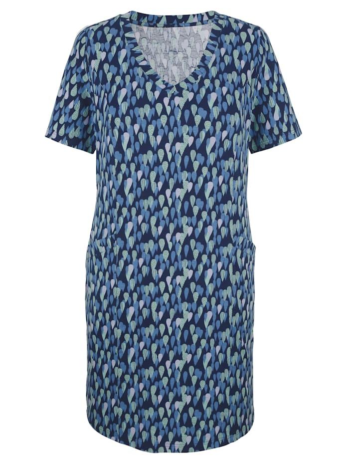 MIAMODA Šaty s predlžujúcim V-výstrihom, Modrá