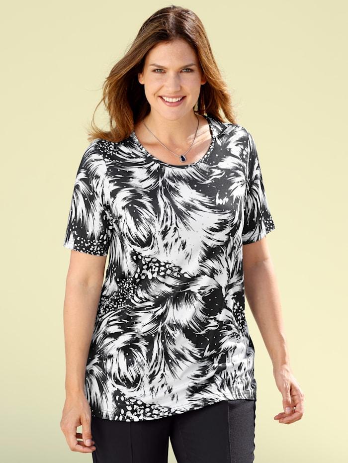 m. collection Shirt mit grafischem Druckdessin, Schwarz/Weiß