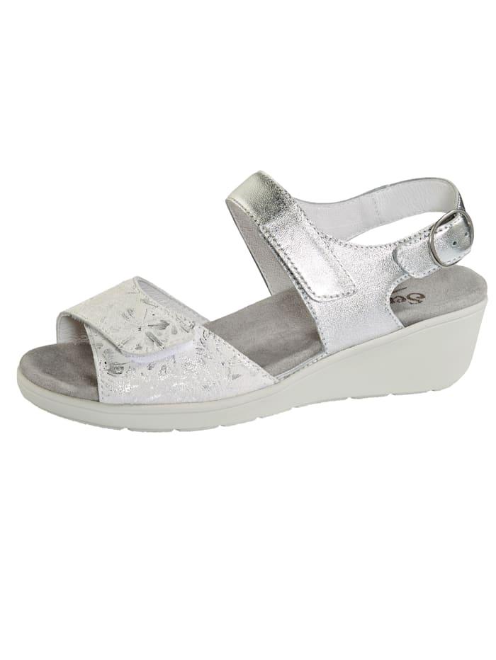 Semler Sandaaltje met luchtgepolsterde zool, Zilverkleur