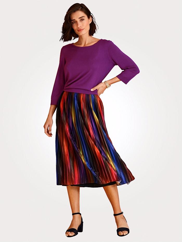 MONA Plissérok met elastische band, Multicolor