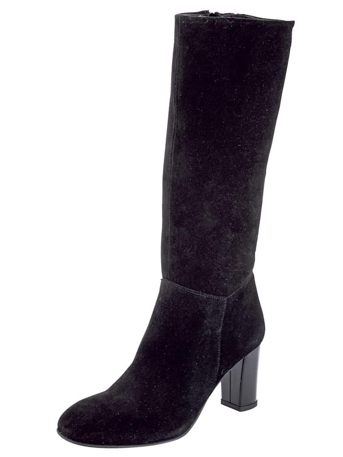 Stiefel aus feinem Veloursleder, Schwarz