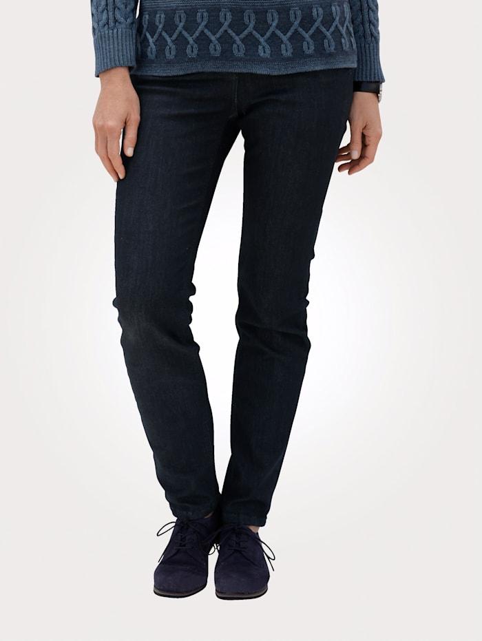 MONA Jeans mit dekorativen Strasssteinchen, Dunkelblau
