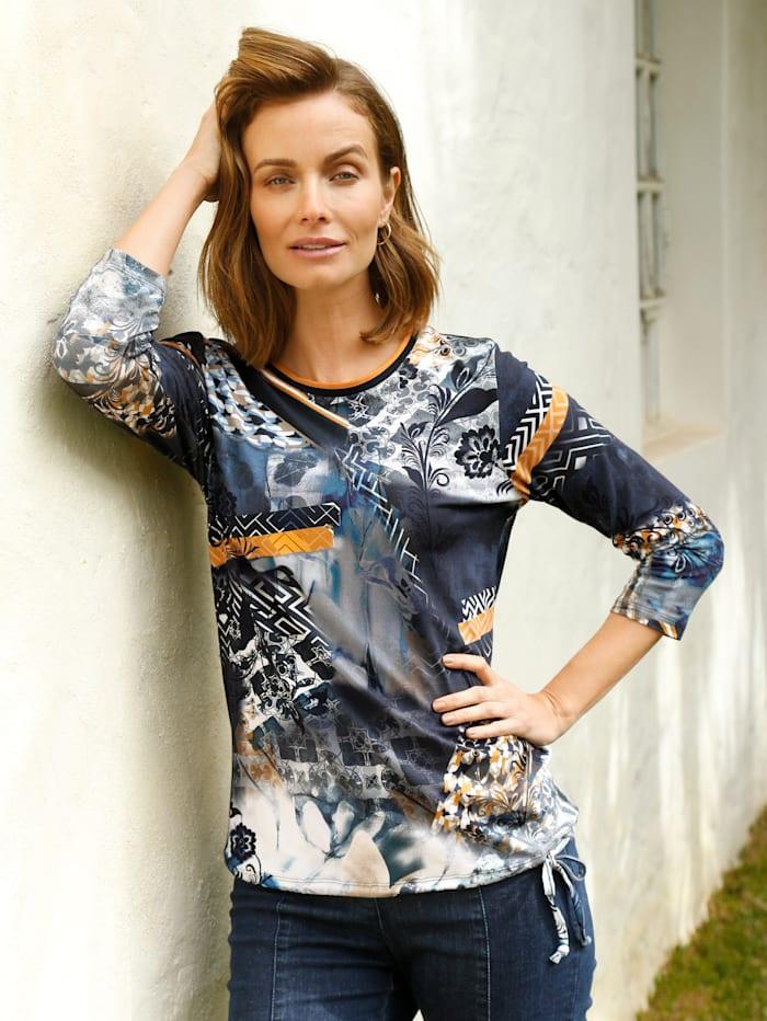 Paola Shirt mit grafischem Druckmotiv, Ockergelb/Marineblau/Weiß