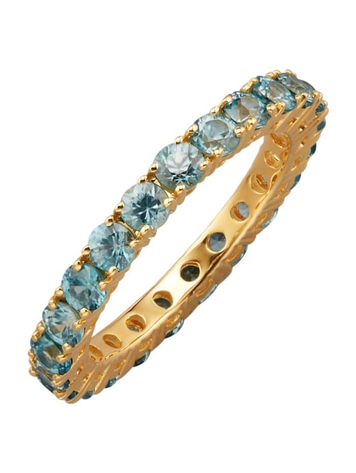 Diemer Farbstein Memoire-Ring mit Zirkonen, Blau