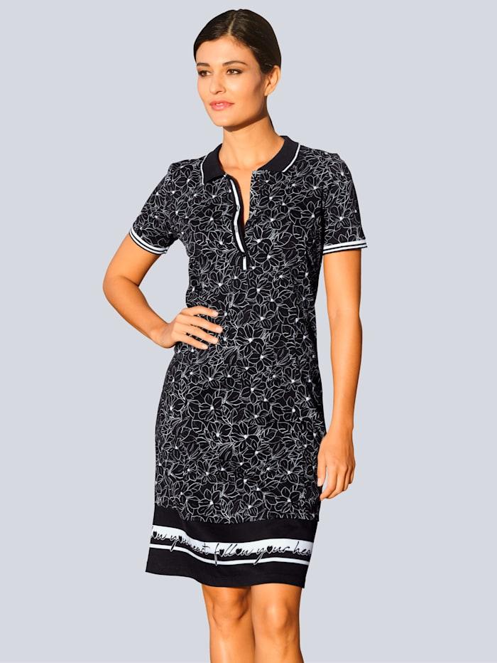 Alba Moda Džersej šaty s exkluzívnou Alba Moda potlačou, Čierna/Biela
