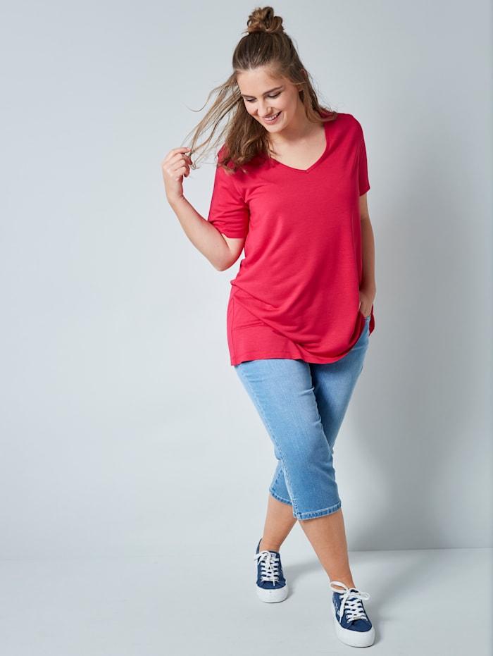 Janet & Joyce T-shirt en pure viscose, Rose vif