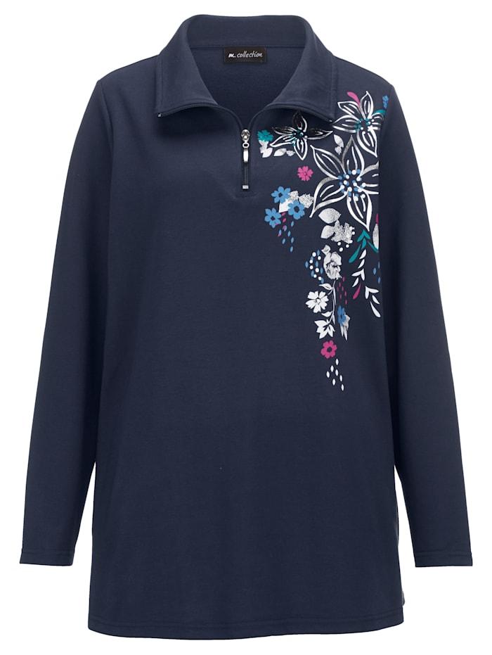 Sweatshirt mit hübschem Blüten-Druckmotiv im Vorderteil